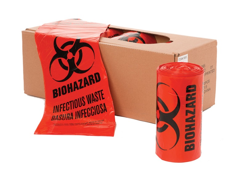 24 X 24 1.3 MIL RED BIOHAZARD INFECTIOUS WASTE 500/ROLL
